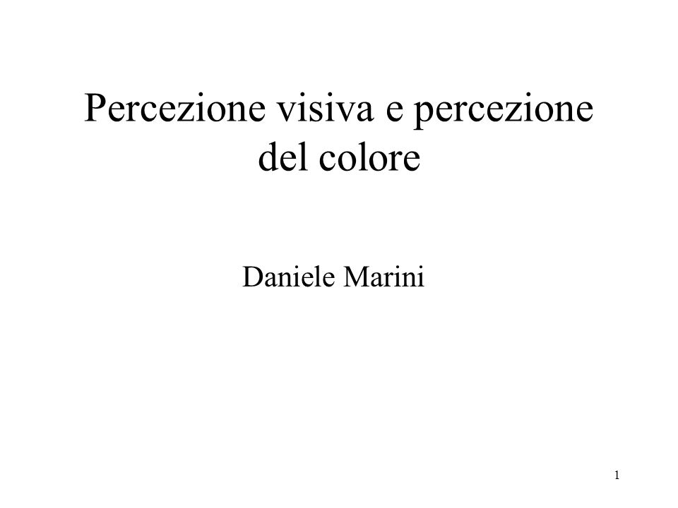 1 Percezione visiva e percezione del colore Daniele Marini