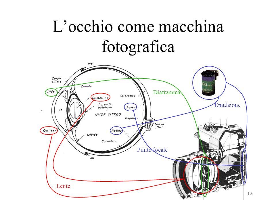 12 Locchio come macchina fotografica Diaframma Lente Punto focale Emulsione