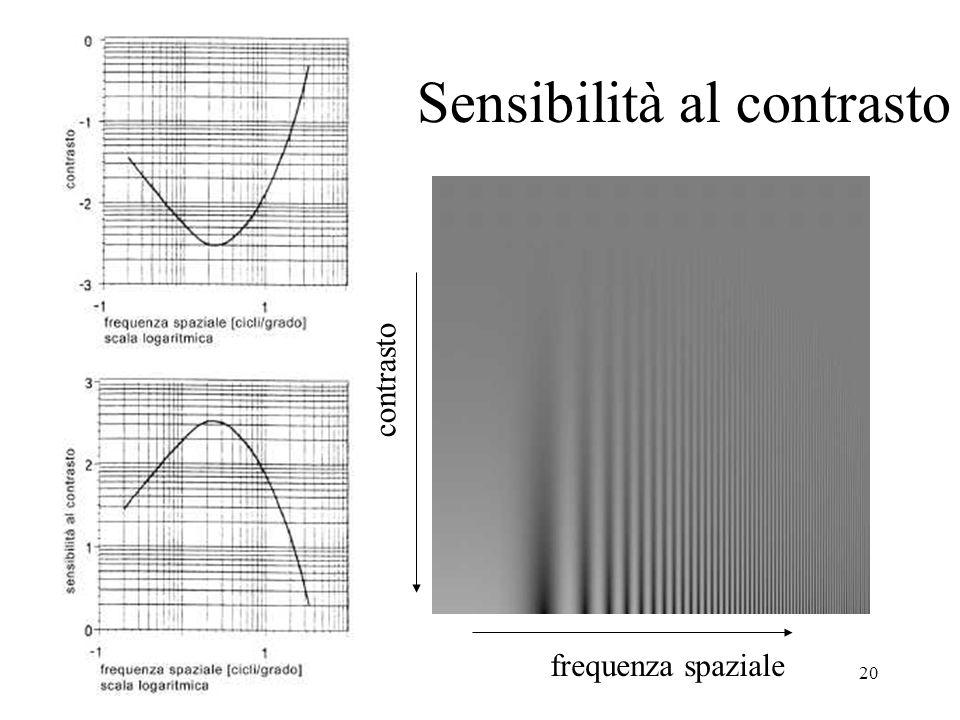 20 Sensibilità al contrasto frequenza spaziale contrasto