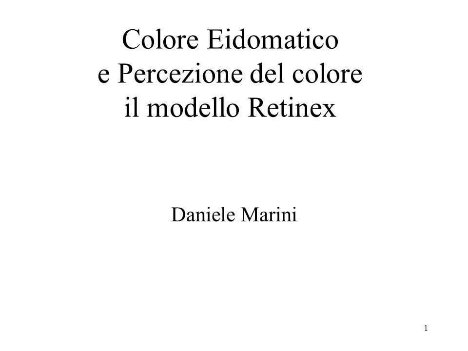 1 Daniele Marini Colore Eidomatico e Percezione del colore il modello Retinex