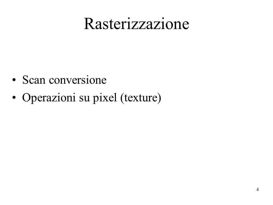 4 Rasterizzazione Scan conversione Operazioni su pixel (texture)