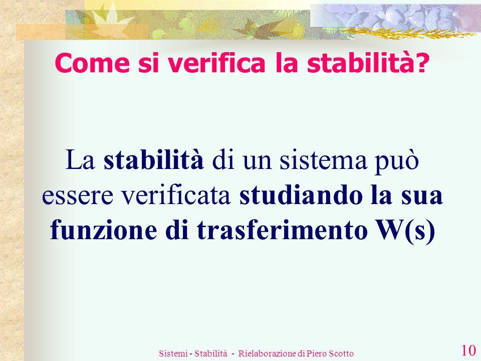 Sistemi - Stabilità - Rielaborazione di Piero Scotto 9 Cosè la stabilità? Si può allora così specificare la stabilità nello studio dei sistemi lineari