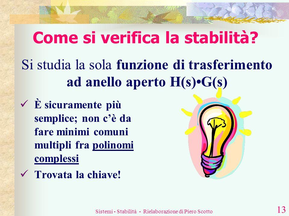 Sistemi - Stabilità - Rielaborazione di Piero Scotto 12 Esiste un modo più semplice per studiare la stabilità di un sistema retroazionato? Fortunatame