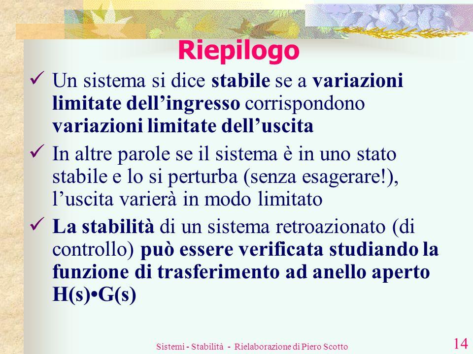 Sistemi - Stabilità - Rielaborazione di Piero Scotto 13 Si studia la sola funzione di trasferimento ad anello aperto H(s)G(s) È sicuramente più sempli