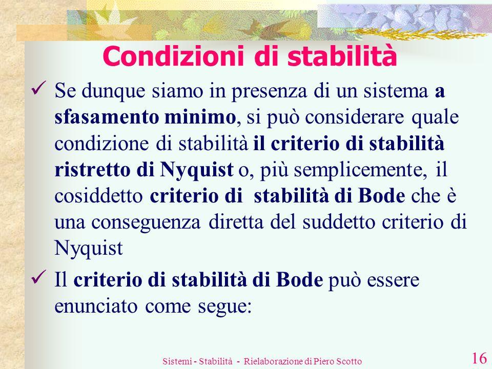 Sistemi - Stabilità - Rielaborazione di Piero Scotto 15 Condizioni di stabilità Una condizione necessaria, ma non sufficiente, perché un sistema sia s