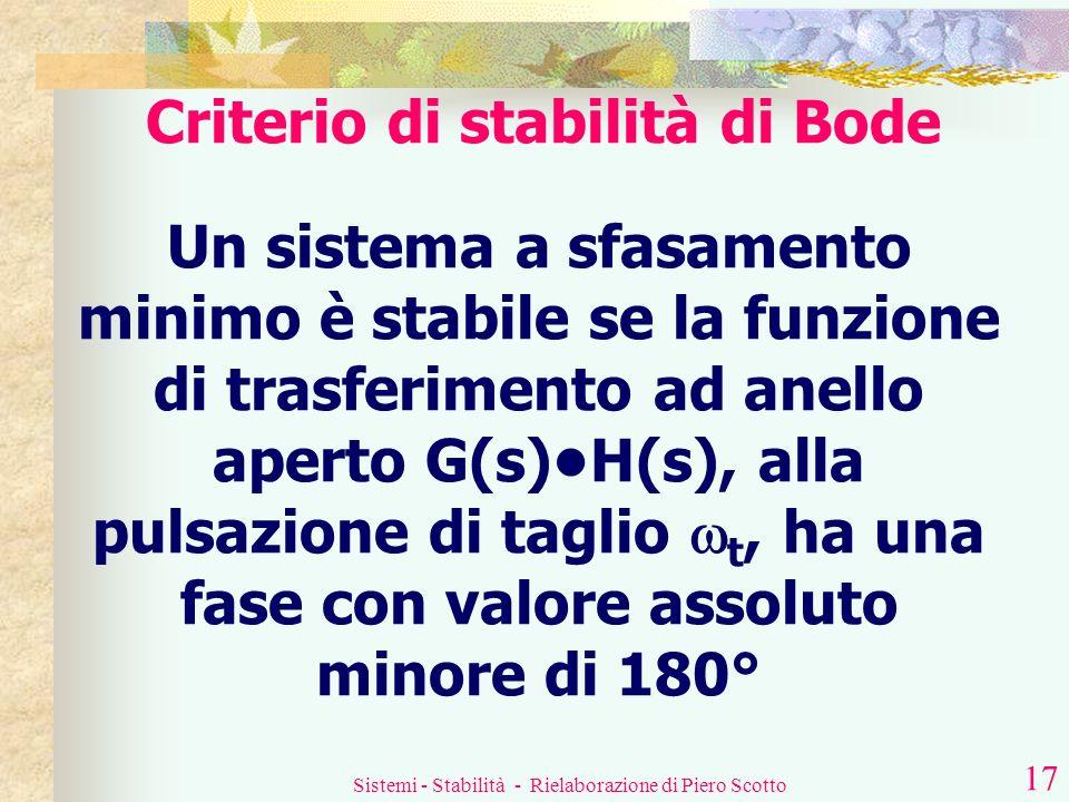 Sistemi - Stabilità - Rielaborazione di Piero Scotto 16 Condizioni di stabilità Se dunque siamo in presenza di un sistema a sfasamento minimo, si può