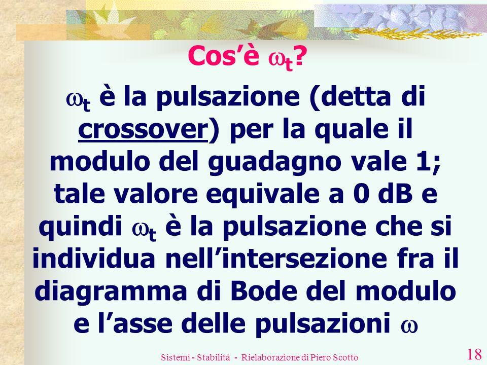 Sistemi - Stabilità - Rielaborazione di Piero Scotto 17 Criterio di stabilità di Bode Un sistema a sfasamento minimo è stabile se la funzione di trasf