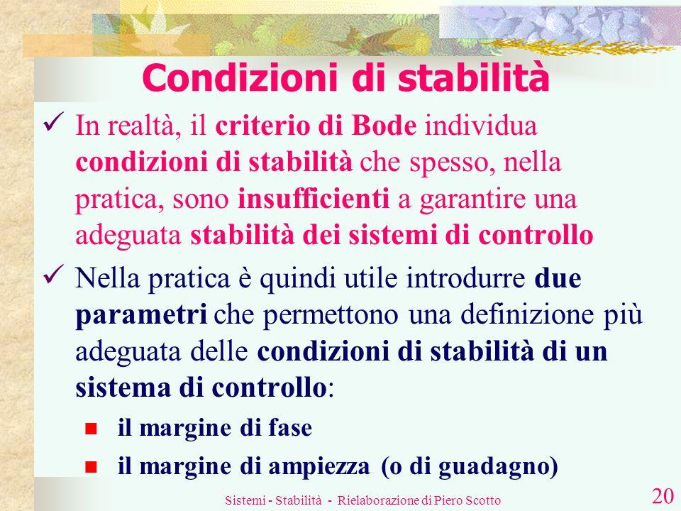 Sistemi - Stabilità - Rielaborazione di Piero Scotto 19 Cosè la pulsazione di crossover (o di taglio) t ? Questo è il valore di t |G(s)H(s)| E questa