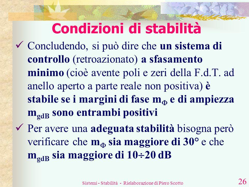 Sistemi - Stabilità - Rielaborazione di Piero Scotto 25 Cosè il margine di ampiezza? |G(s)H(s)| 2. si rileva il modulo del guadagno in dB 1. In corris