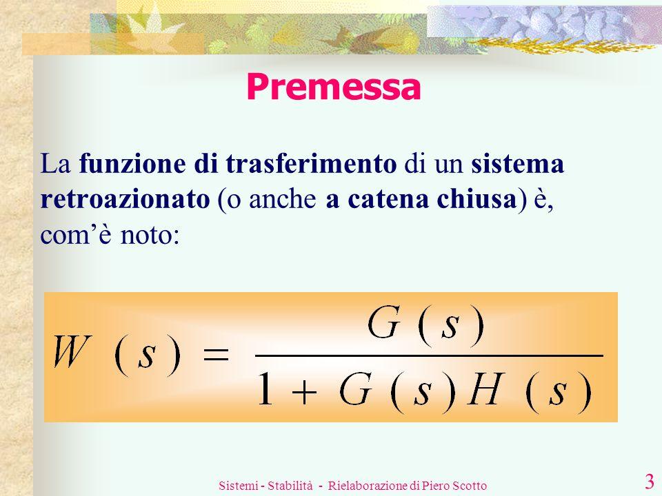 Sistemi - Stabilità - Rielaborazione di Piero Scotto 2 Sommario In questa lezione si tratteranno: La funzione di trasferimento dei sistemi retroaziona