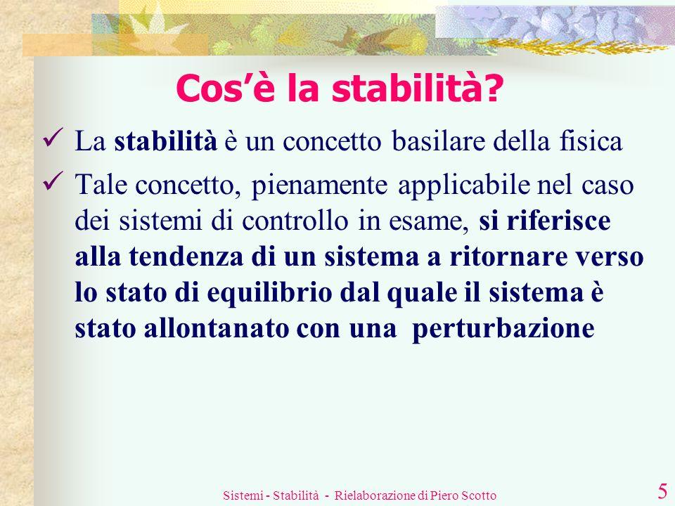 Sistemi - Stabilità - Rielaborazione di Piero Scotto 4 Il prodotto che compare al denominatore della W(s) è la cosiddetta funzione di trasferimento ad