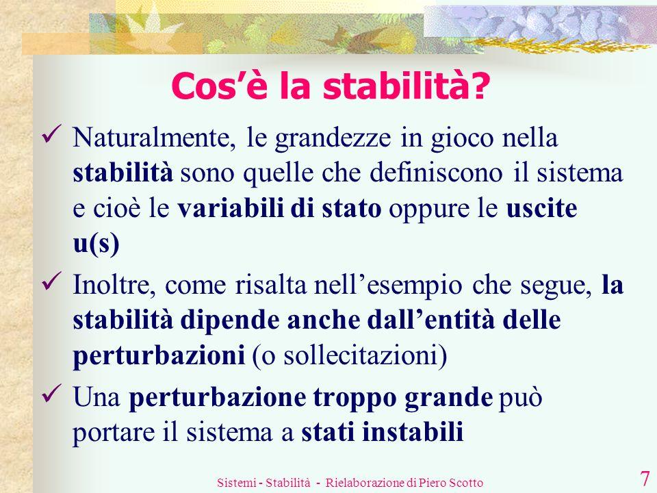 Sistemi - Stabilità - Rielaborazione di Piero Scotto 6 Cosè la stabilità? stabilità perturbazione sistema