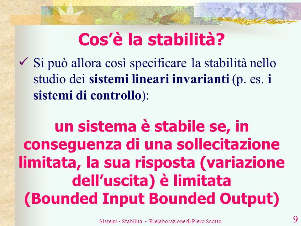 Sistemi - Stabilità - Rielaborazione di Piero Scotto 8 Cosè la stabilità? instabilità perturbazione eccessiva