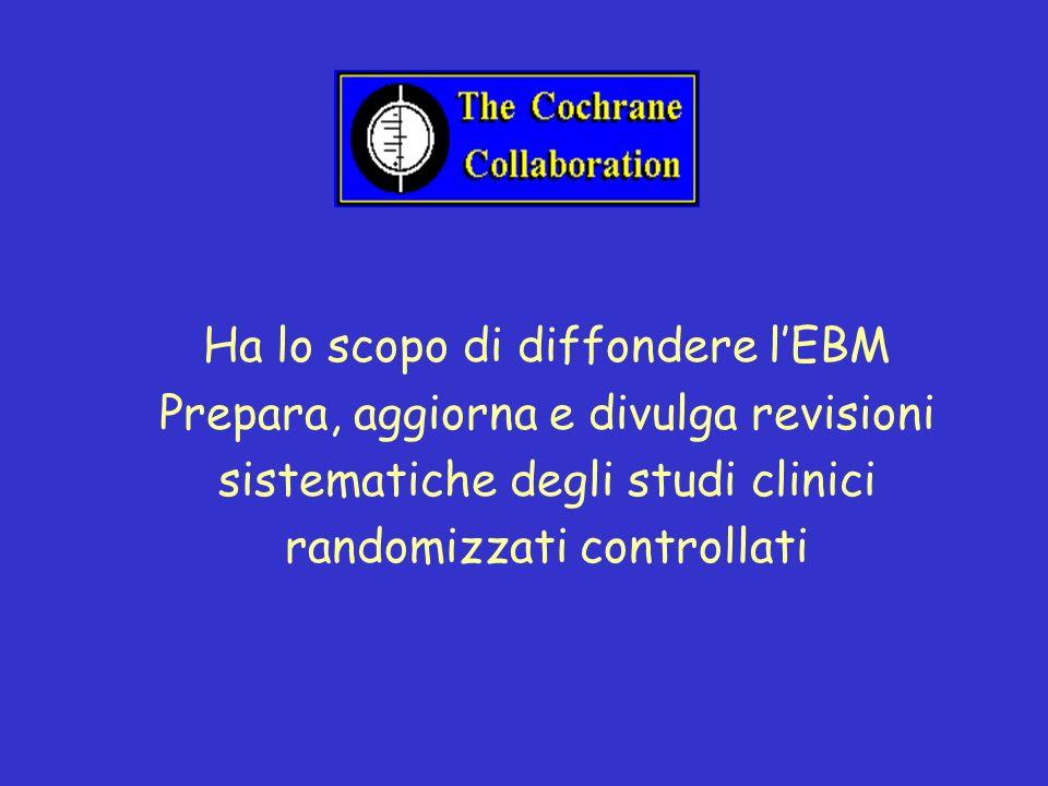 Ha lo scopo di diffondere lEBM Prepara, aggiorna e divulga revisioni sistematiche degli studi clinici randomizzati controllati
