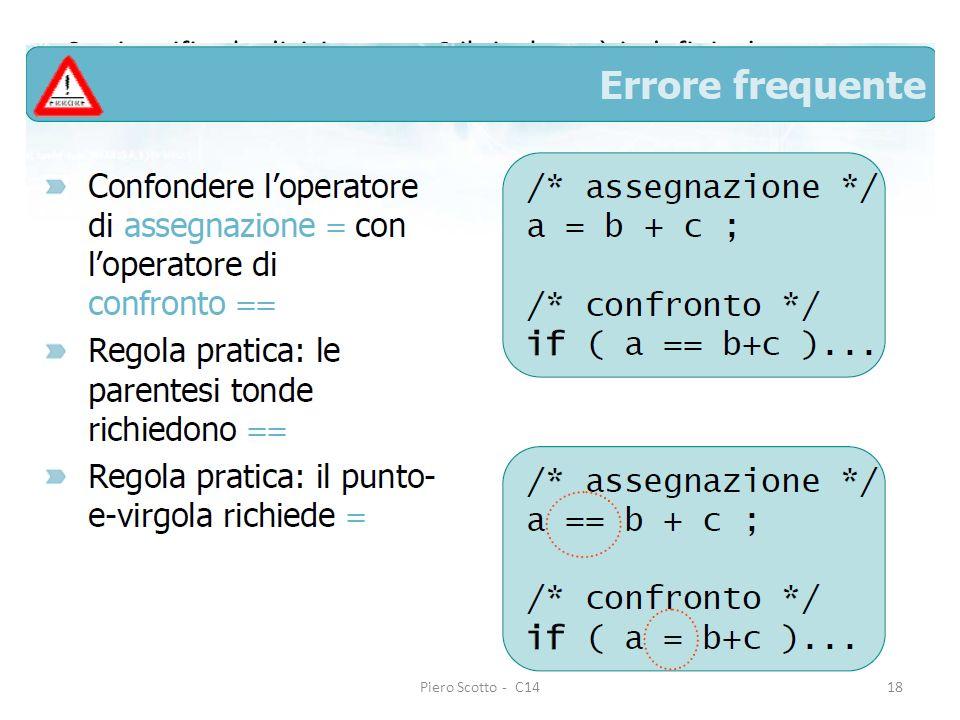 Piero Scotto - C1418 Se si verifica la divisione per 0 il risultato è indefinito! Occorre prevenire questo rischio. If (a==0) {printf(Equazione non po