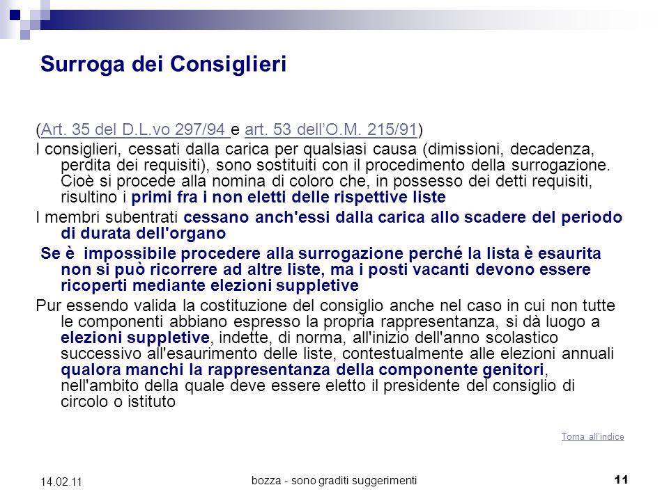 bozza - sono graditi suggerimenti 11 14.02.11 Surroga dei Consiglieri (Art. 35 del D.L.vo 297/94 e art. 53 dellO.M. 215/91)Art. 35 del D.L.vo 297/94 a