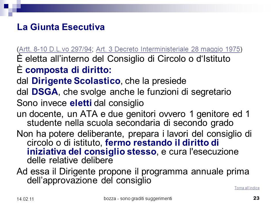 bozza - sono graditi suggerimenti 23 14.02.11 La Giunta Esecutiva (Artt. 8-10 D.L.vo 297/94; Art. 3 Decreto Interministeriale 28 maggio 1975)Artt. 8-1