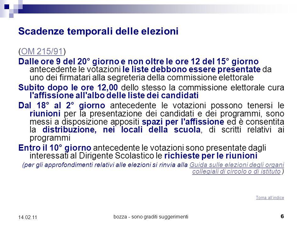 bozza - sono graditi suggerimenti 6 14.02.11 Scadenze temporali delle elezioni (OM 215/91)OM 215/91 Dalle ore 9 del 20° giorno e non oltre le ore 12 d