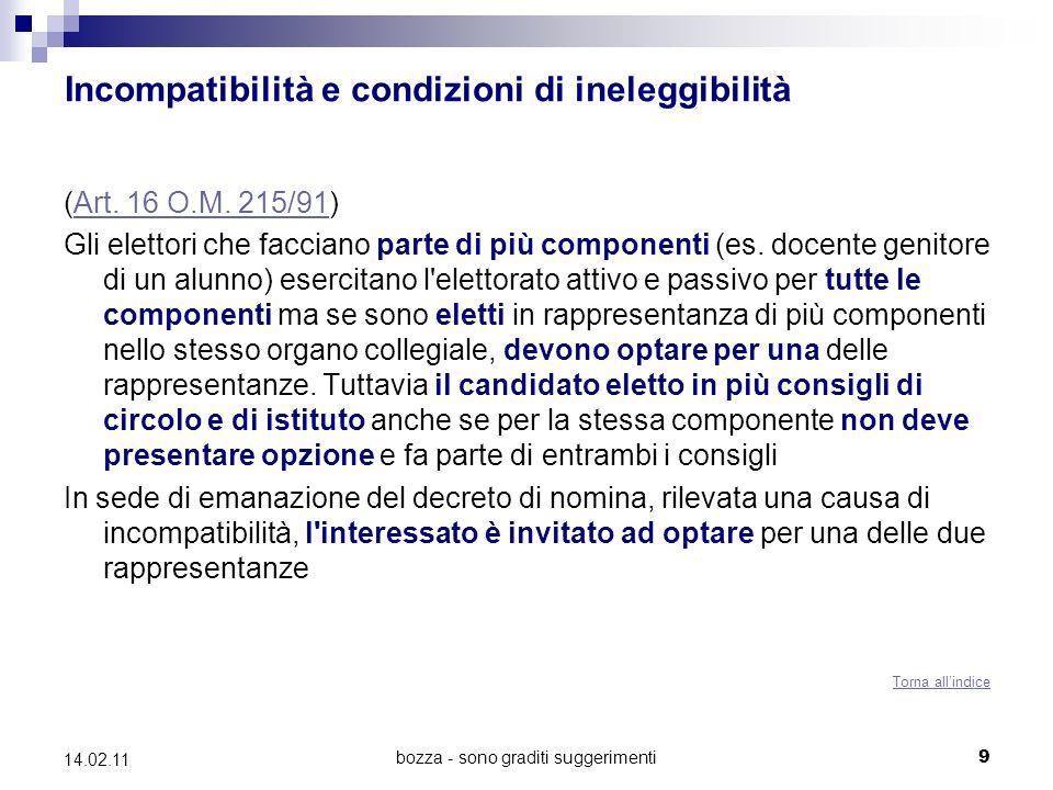 bozza - sono graditi suggerimenti 9 14.02.11 Incompatibilità e condizioni di ineleggibilità (Art. 16 O.M. 215/91)Art. 16 O.M. 215/91 Gli elettori che