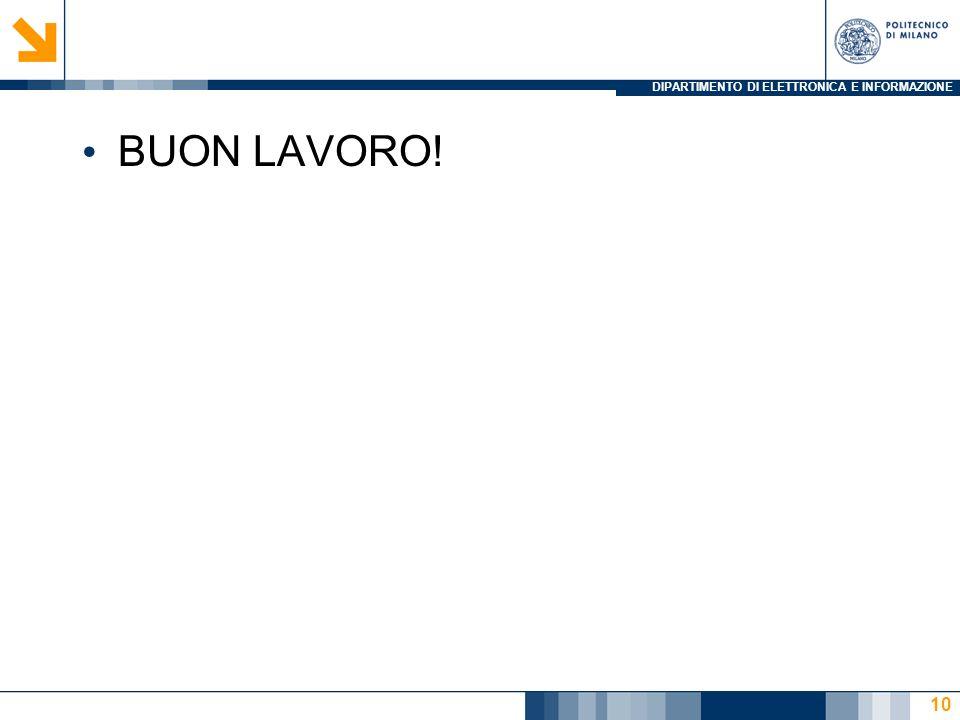DIPARTIMENTO DI ELETTRONICA E INFORMAZIONE BUON LAVORO! 10