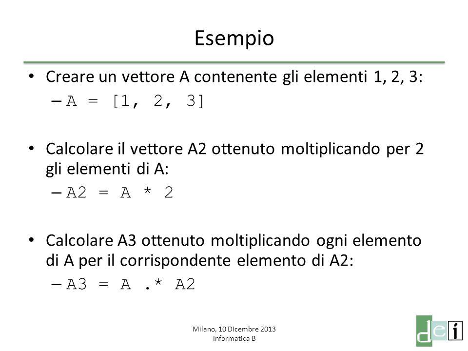Milano, 10 Dicembre 2013 Informatica B Esempio Creare un vettore A contenente gli elementi 1, 2, 3: – A = [1, 2, 3] Calcolare il vettore A2 ottenuto moltiplicando per 2 gli elementi di A: – A2 = A * 2 Calcolare A3 ottenuto moltiplicando ogni elemento di A per il corrispondente elemento di A2: – A3 = A.* A2