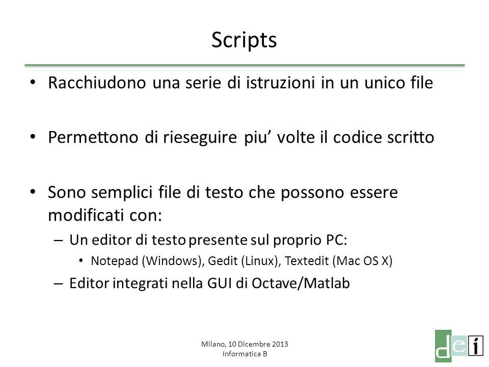 Milano, 10 Dicembre 2013 Informatica B Scripts Gli script devono essere trovabili da Octave/Matlab: – Se non sono salvati in un percorso conosciuto dal programma bisogna spostarsi nella cartella in cui sono salvati.