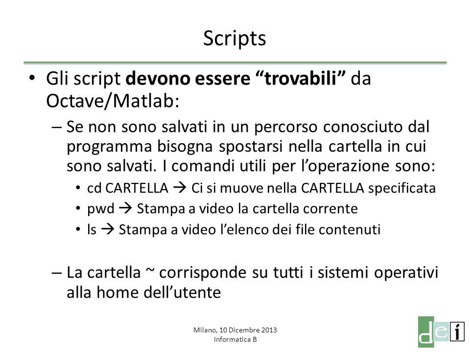 Milano, 10 Dicembre 2013 Informatica B Scripts Gli script devono essere trovabili da Octave/Matlab: – Se non sono salvati in un percorso conosciuto da
