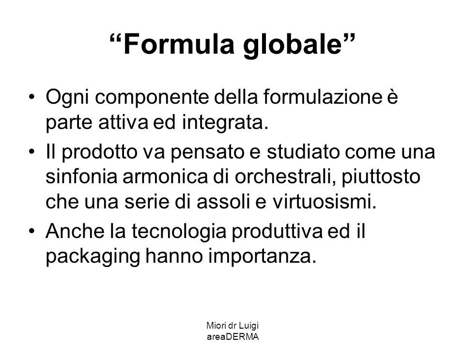 Miori dr Luigi areaDERMA Formula globale Ogni componente della formulazione è parte attiva ed integrata. Il prodotto va pensato e studiato come una si