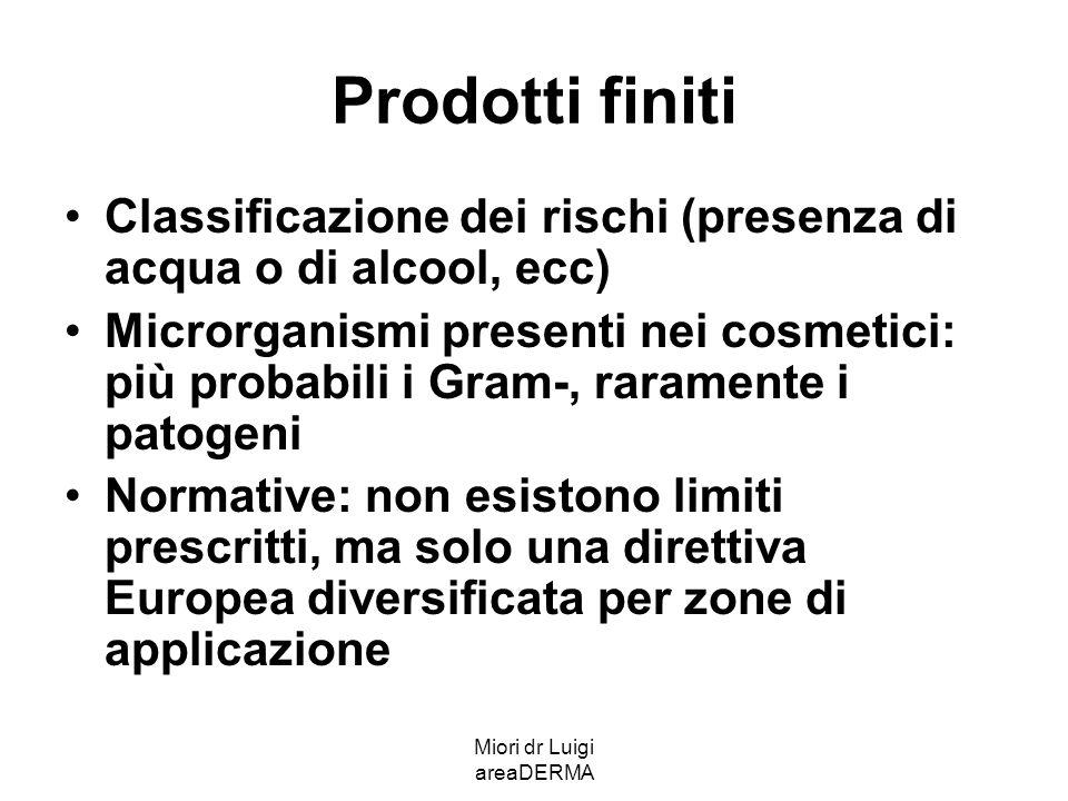 Miori dr Luigi areaDERMA Prodotti finiti Classificazione dei rischi (presenza di acqua o di alcool, ecc) Microrganismi presenti nei cosmetici: più pro