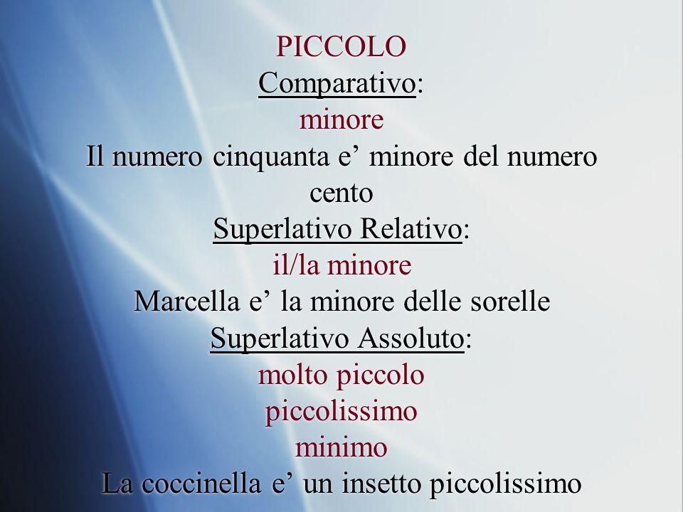 PICCOLO Comparativo: minore Il numero cinquanta e minore del numero cento Superlativo Relativo: il/la minore Marcella e la minore delle sorelle Superl