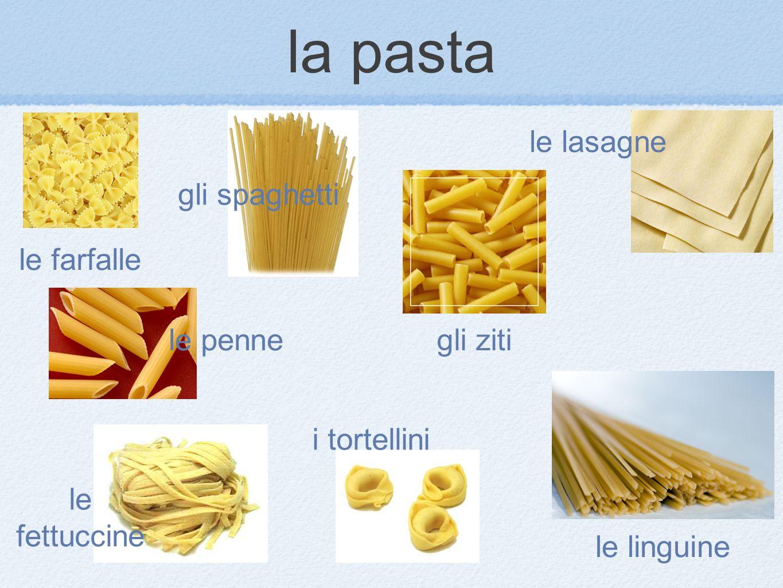 le farfalle le lasagne i tortellini le fettuccine le linguine gli zitile penne gli spaghetti