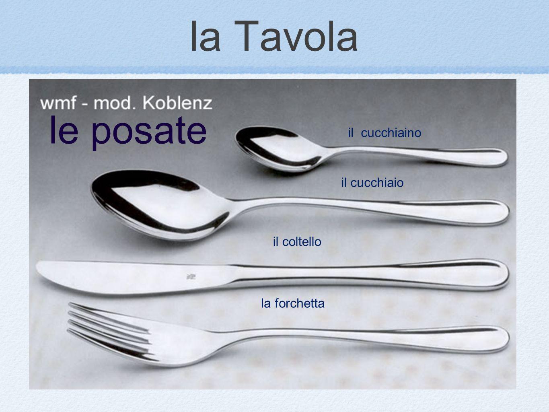 la Tavola il cucchiaino il cucchiaio il coltello la forchetta le posate