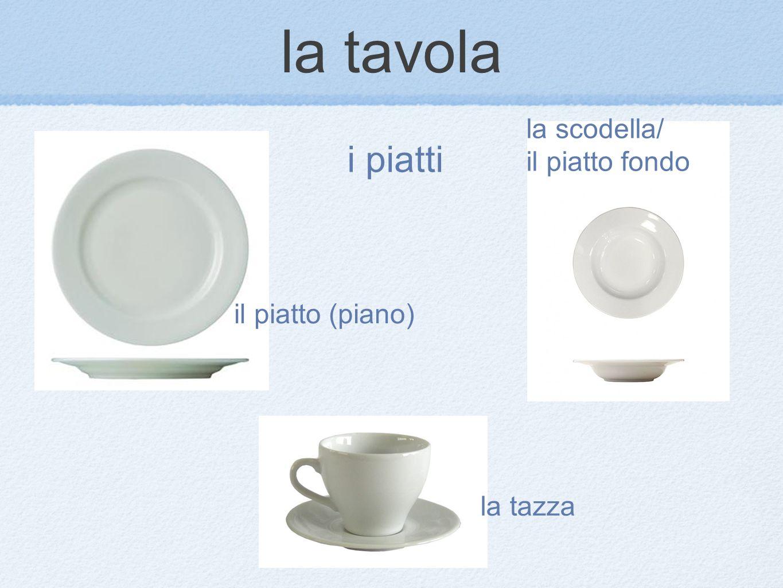 il piatto (piano) la scodella/ il piatto fondo la tazza i piatti