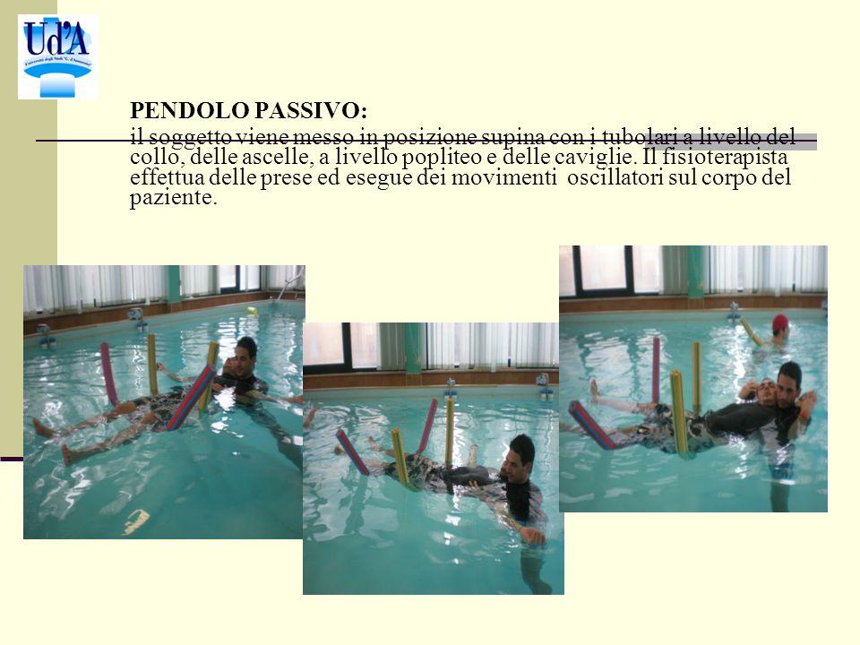 PENDOLO PASSIVO: il soggetto viene messo in posizione supina con i tubolari a livello del collo, delle ascelle, a livello popliteo e delle caviglie.