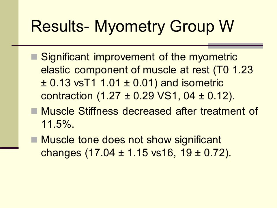 Results- Myometry Group W Significant improvement of the myometric elastic component of muscle at rest (T0 1.23 ± 0.13 vsT1 1.01 ± 0.01) and isometric
