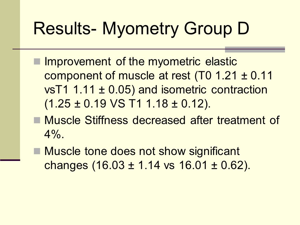 Results- Myometry Group D Improvement of the myometric elastic component of muscle at rest (T0 1.21 ± 0.11 vsT1 1.11 ± 0.05) and isometric contraction