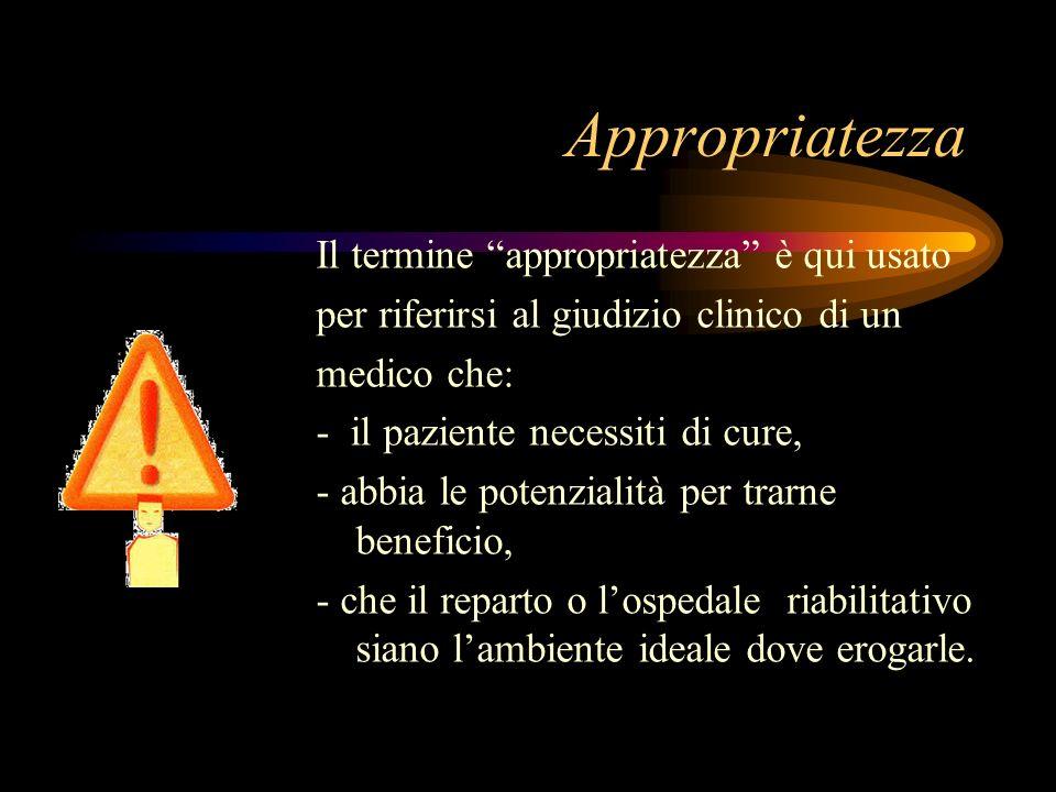 Appropriatezza Il termine appropriatezza è qui usato per riferirsi al giudizio clinico di un medico che: - il paziente necessiti di cure, - abbia le p