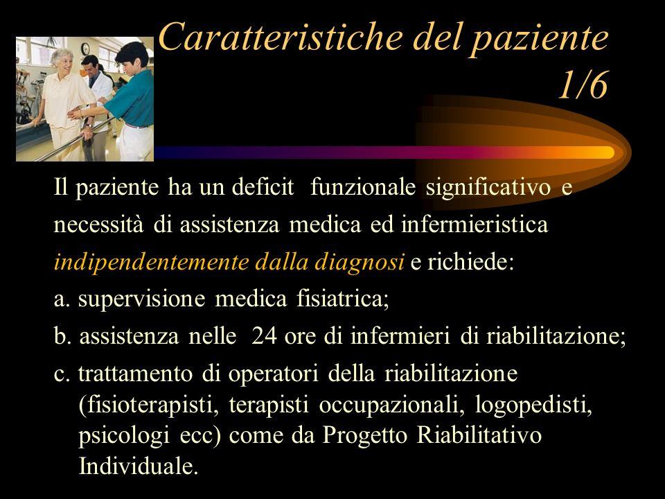 Il paziente ha un deficit funzionale significativo e necessità di assistenza medica ed infermieristica indipendentemente dalla diagnosi e richiede: a.