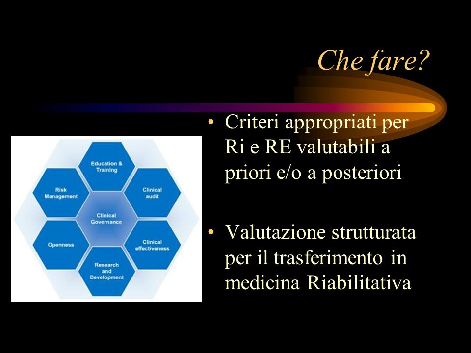 Che fare? Criteri appropriati per Ri e RE valutabili a priori e/o a posteriori Valutazione strutturata per il trasferimento in medicina Riabilitativa