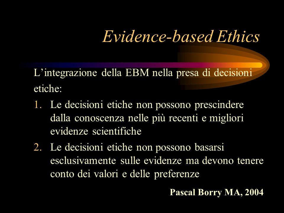 Evidence-based Ethics Lintegrazione della EBM nella presa di decisioni etiche: 1.Le decisioni etiche non possono prescindere dalla conoscenza nelle pi