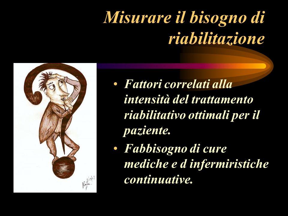 Misurare il bisogno di riabilitazione Fattori correlati alla intensità del trattamento riabilitativo ottimali per il paziente. Fabbisogno di cure medi