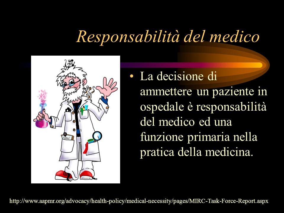 Responsabilità del medico La decisione di ammettere un paziente in ospedale è responsabilità del medico ed una funzione primaria nella pratica della m
