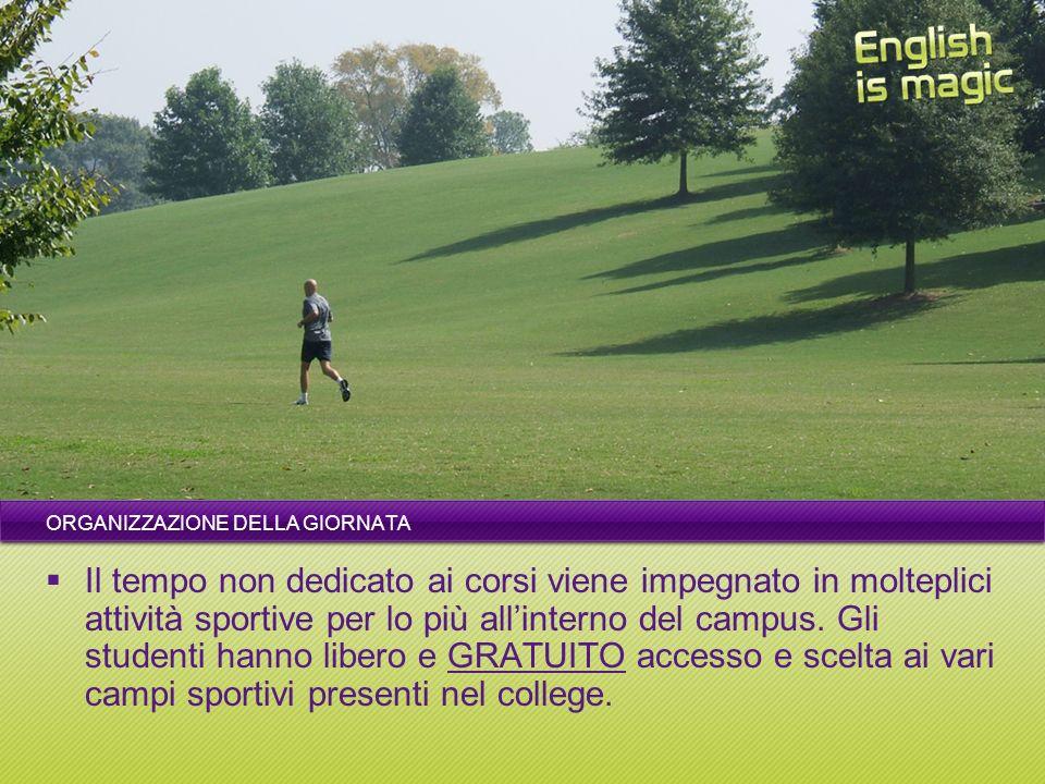 ORGANIZZAZIONE DELLA GIORNATA Il tempo non dedicato ai corsi viene impegnato in molteplici attività sportive per lo più allinterno del campus.