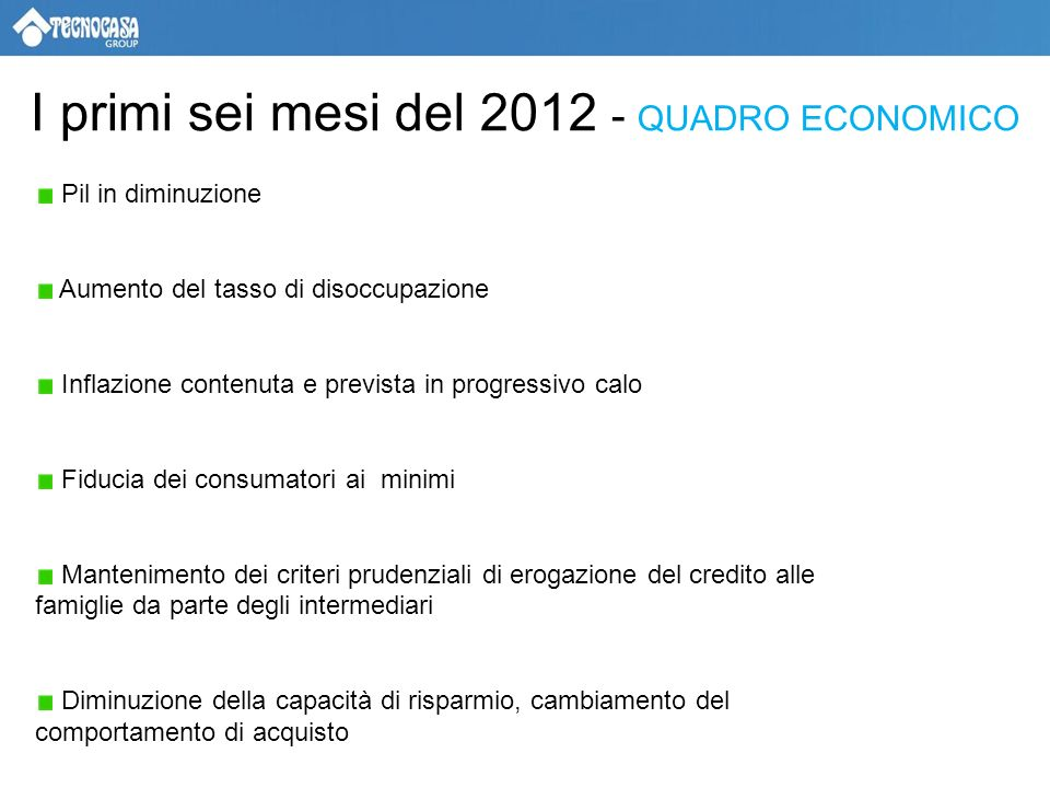 CONCLUSIONI Per la fine del 2012 prevediamo una diminuzione annuale dei prezzi tra -7% e -9% Le compravendite si stabilizzeranno intorno a 500 mila Si potranno cogliere opportunità di acquisto