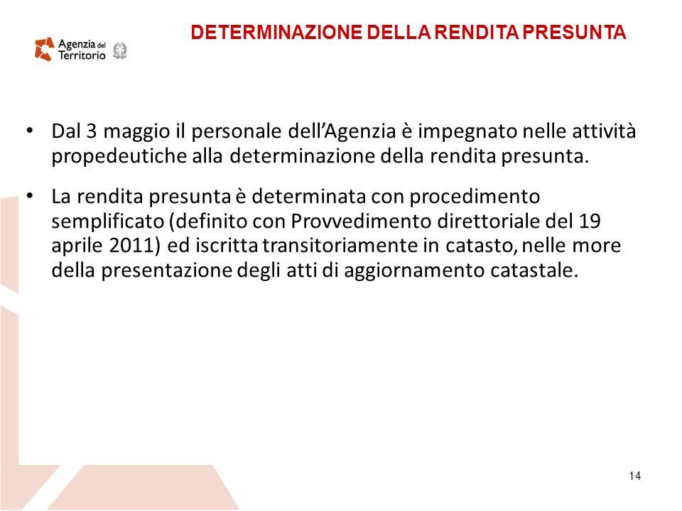 14 Dal 3 maggio il personale dellAgenzia è impegnato nelle attività propedeutiche alla determinazione della rendita presunta.