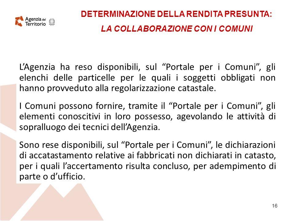 16 LAgenzia ha reso disponibili, sul Portale per i Comuni, gli elenchi delle particelle per le quali i soggetti obbligati non hanno provveduto alla regolarizzazione catastale.