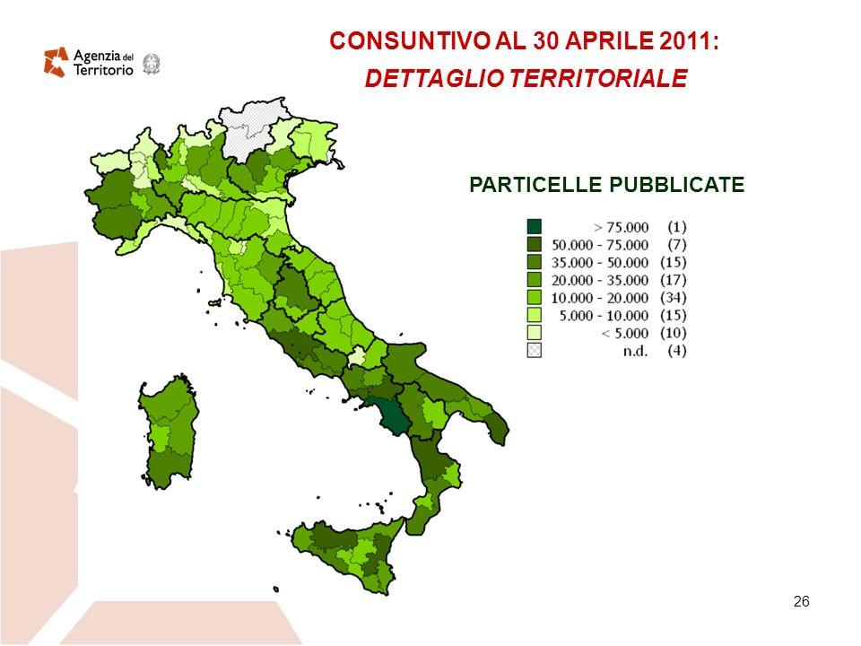 26 CONSUNTIVO AL 30 APRILE 2011: DETTAGLIO TERRITORIALE PARTICELLE PUBBLICATE