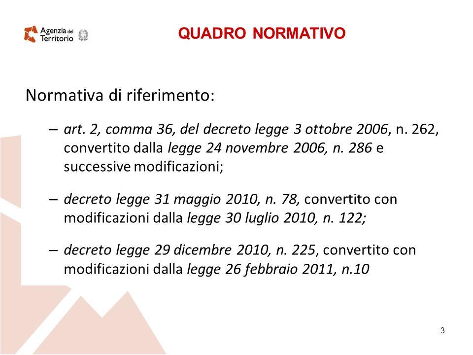 3 Normativa di riferimento: – art. 2, comma 36, del decreto legge 3 ottobre 2006, n.