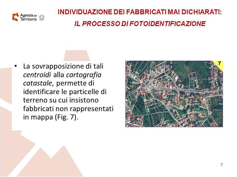 7 La sovrapposizione di tali centroidi alla cartografia catastale, permette di identificare le particelle di terreno su cui insistono fabbricati non rappresentati in mappa (Fig.