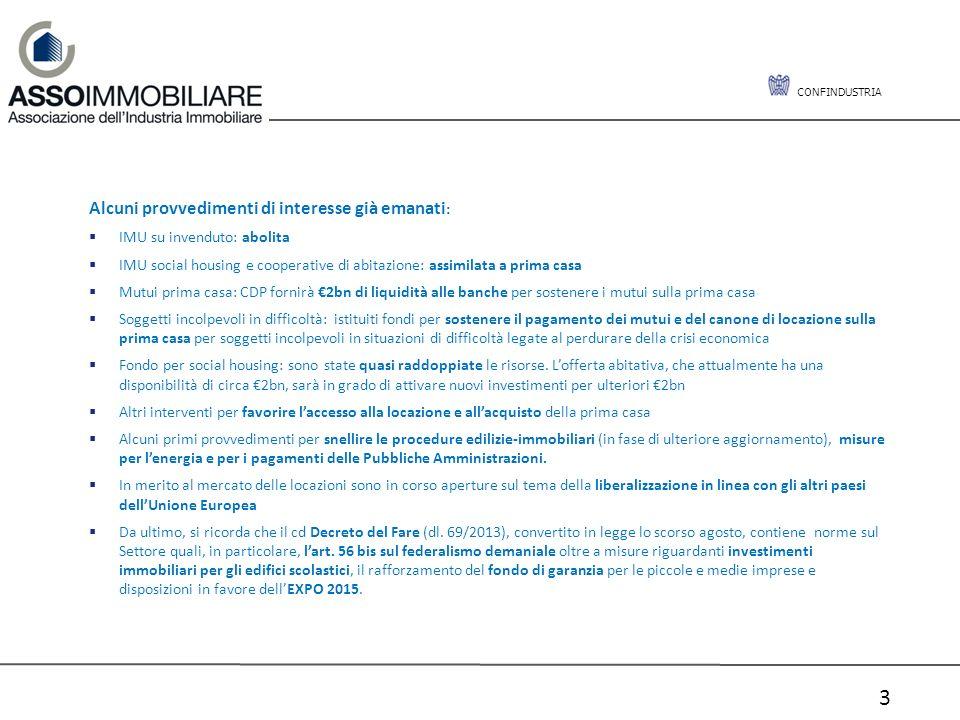 CONFINDUSTRIA 3 Alcuni provvedimenti di interesse già emanati : IMU su invenduto: abolita IMU social housing e cooperative di abitazione: assimilata a